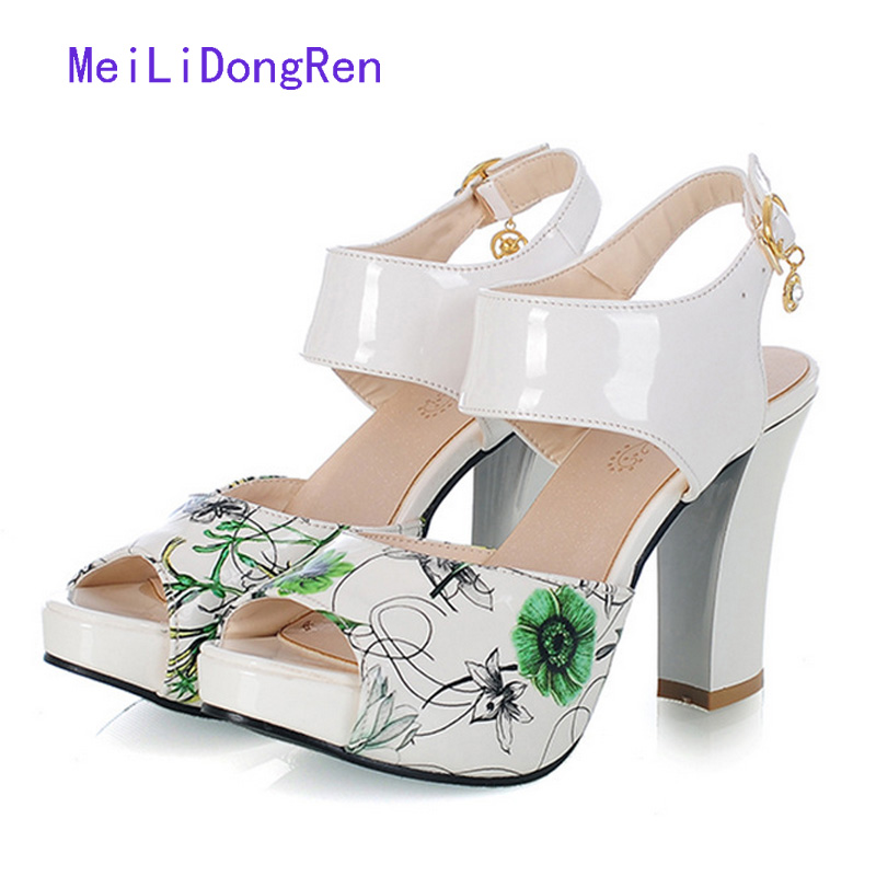 2017 concise nude suede flat summer sandals women sequined ankle strap dress shoes woman open toe bling sandals 2017 Printed Flowers High Heels Women Sandals Sequined Ankle Strap Summer Dress Shoes Open Toe Party Shoes Platform
