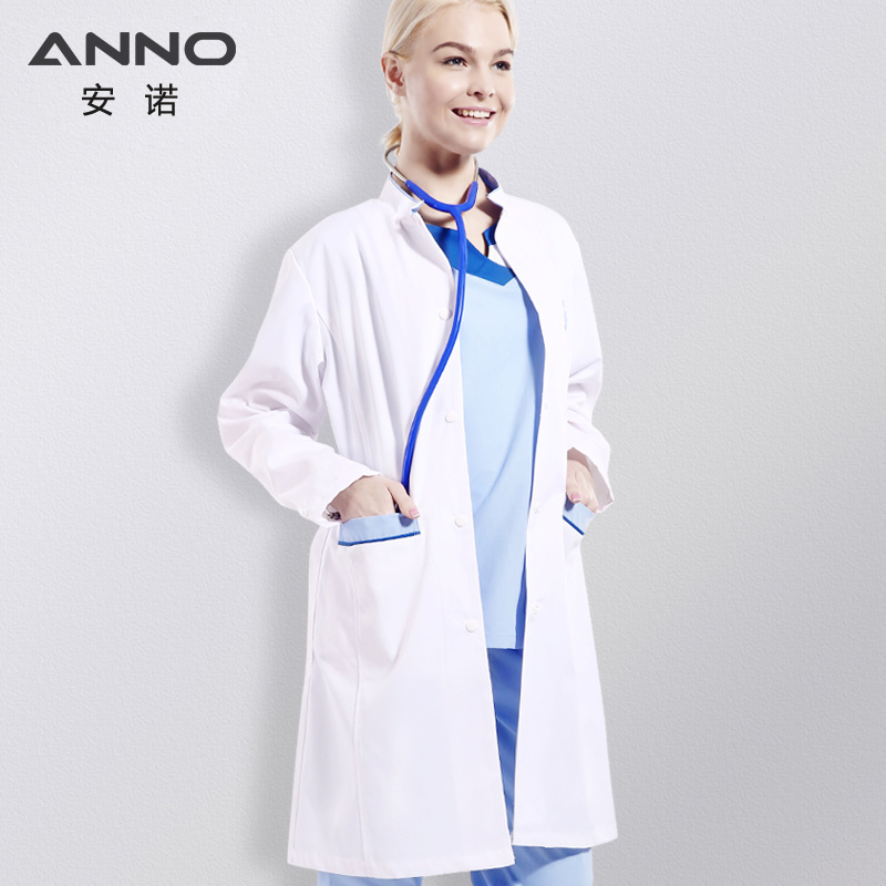 ANNO  White Lab Coat For Women Man Chemistry  Nurse Doctor Uniform Jaleco Hospital Scrubs Jacket Medical Clothing Surgical Gown
