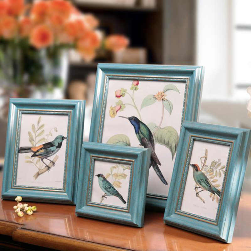 4pcs/set Europe style Frame on Table Home Decoation Photo Picture Frames BLUE