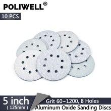Schleifpapier 5 Zoll 125mm 8-Loch 40-2000 Grit Aluminium Oxid Haken und Schleife Trockenen Schleifen Discs für Dremel Schleifer Polierer Werkzeug 10 Pcs