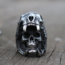 цены Vintage Men Boy 316L Stainless Steel Titanium Steel Ring Indian Jaguar Warrior Skull Ring Biker Jewelry Drop Shipping