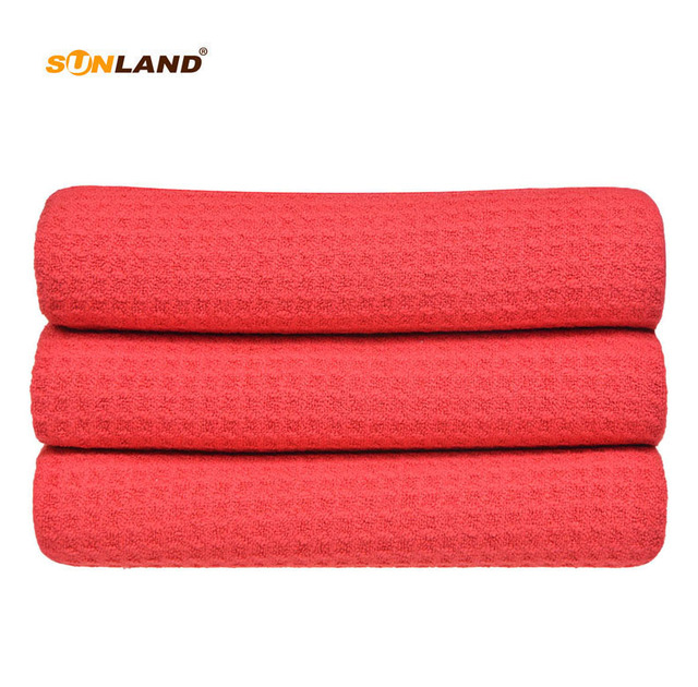 Sinland 40cmx60cm Fast Drying Microfiber Waffle Weave Face Hand Dishcloths Kitchen Towels Microfibre Dish Cloth 3 Pcs