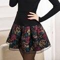Mujeres una línea de falda corta impresa faldas otoño e invierno busto falda del soplo de cintura alta faldas plisadas básicos calidad JX314