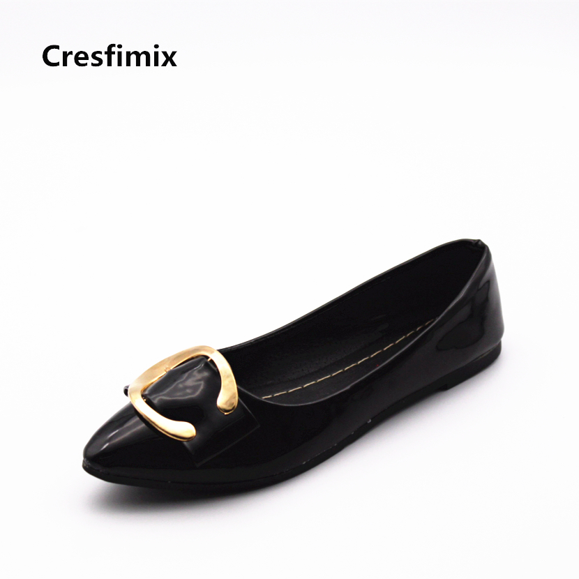 Cresfimix zapatos de mujer women fashion black office flat shoes lady leisure spring and summer slip on flats female cute shoes casual shoes women office ladies shoes lady cute bow tie pointed toe flats female cute spring