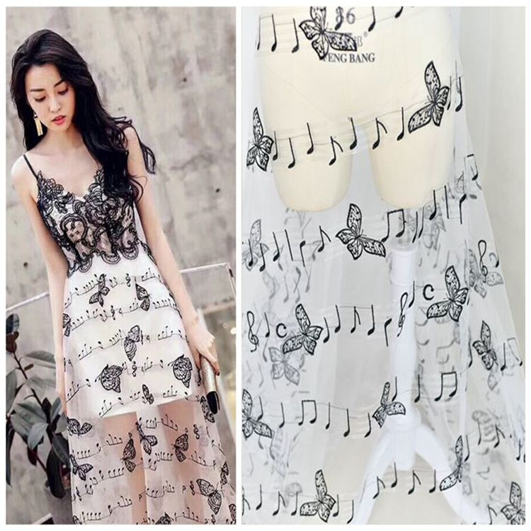Musical embroidery evening dress skirt accessories accessories music butterfly lace fabric high-end lace show diy cloth