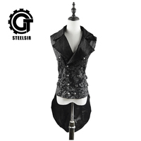 Punk qiu dong before long in short length waistcoat jacket after female embroidery printing jacket lapel stage