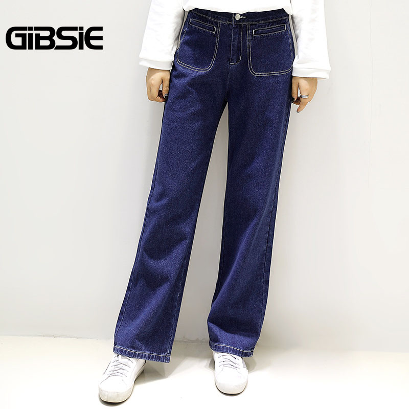 GIBSIE Plus Size Women Clothing Denim Trousers For Women 2017 Autumn Winter New Casual High Waist Straight Jeans Big Size 5XL afs jeep autumn jeans mens straight denim trousers loose plus size 42 cowboy jeans male man clothing men casual botton