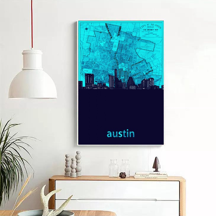 Home Decor Austin: Austin City Skyline MAP Art Canvas Poster Home Decor-in