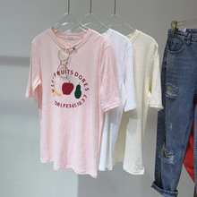 2019 summer harajuku apple pear print women t-shirt fashion sweet tops letter fruit white blue t shirt