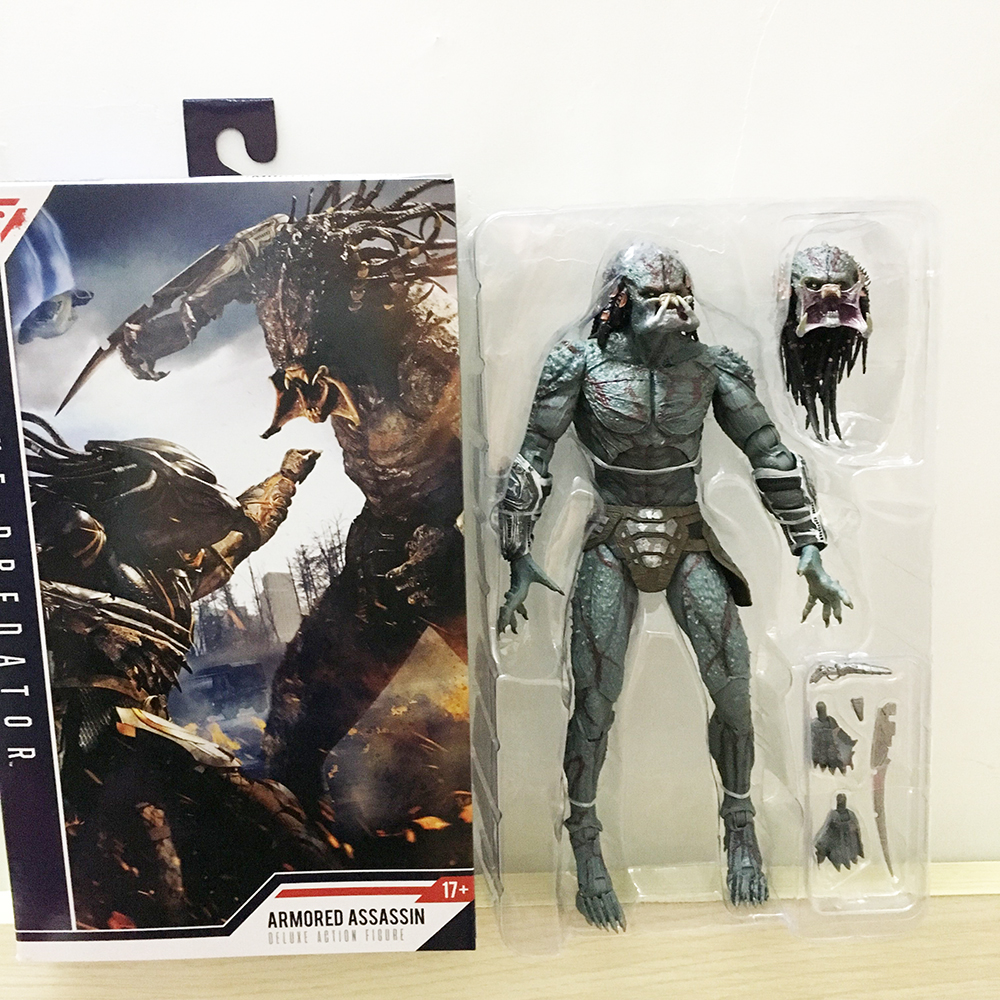In Stock 10inch 25cm NECA Armored Assassin Predator Ultimate Predator Unmasked Action Figure  Model Toy