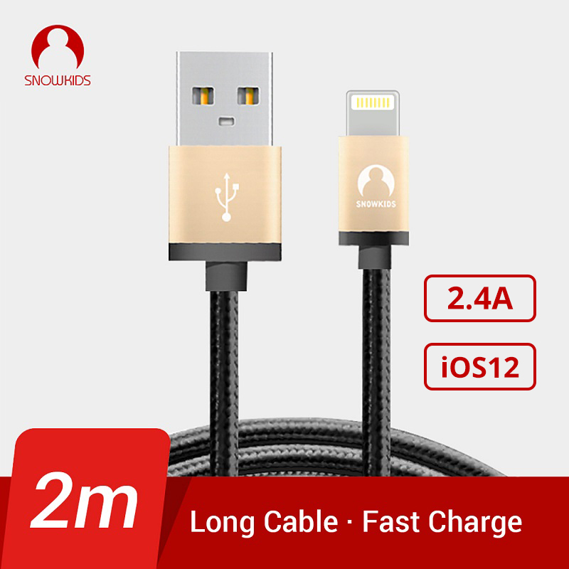 Snowkids 2M Cable USB Charger Cable 2Pieces / Lot pro iPhone X 8 7 6 5 XR XsMax Upto iOS 12