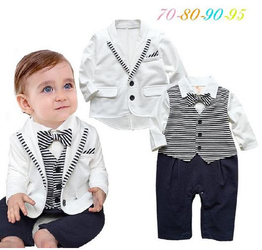2016 New baby font b boy b font rompers full sleeve striped bowtie gentlemen rompers baby