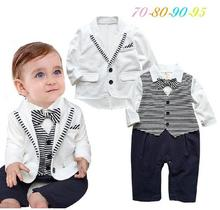 2016 New baby boy rompers full sleeve striped bowtie gentlemen rompers baby costume roupas infantil menino