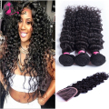 Unprocessed virgin hair grade 7a virgin hair with closure deep wave 3 bundles with lace closure brazilian deep wave with closure