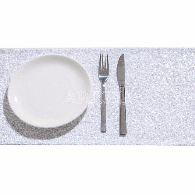 White Sequin Table Runner Sparking Glitter Diy For Wedding Christmas Baby Shower