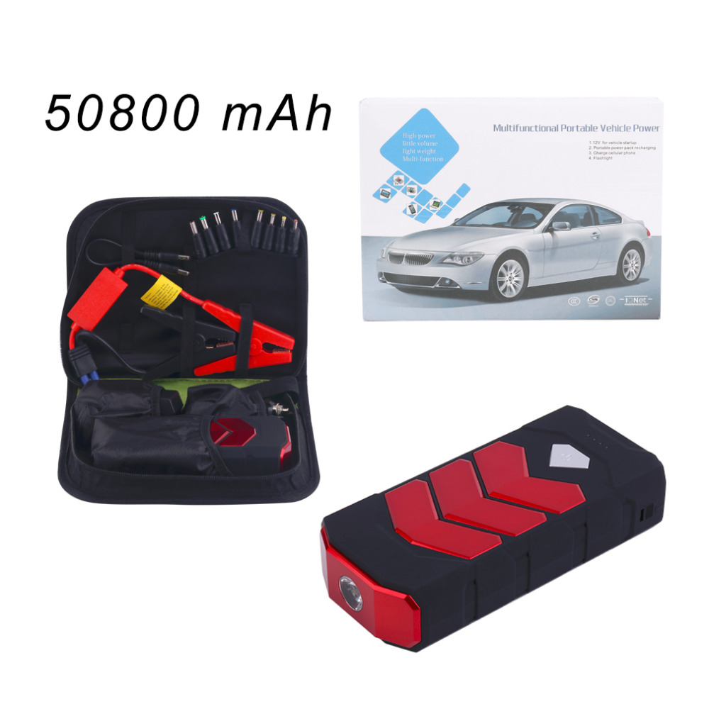 2017 New 50800MAH Large Capacity Car Jump Starter Portale Size Emergency Vehicle Booster Battery Power Bank Charger Red