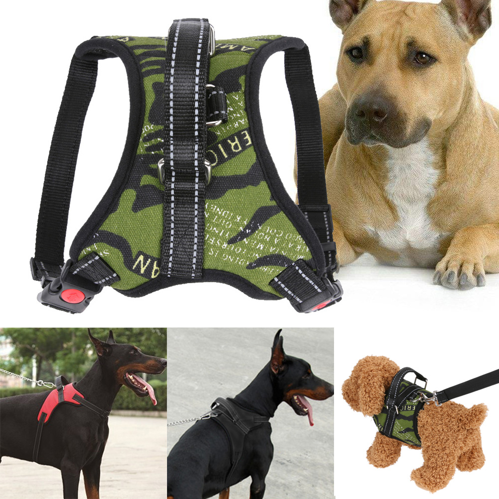 3 Colors Chest Straps Dogs Halter Harness Soft Padded No Pull Nylon Quick Fit Reflective Stitching with traction rope S M L XL
