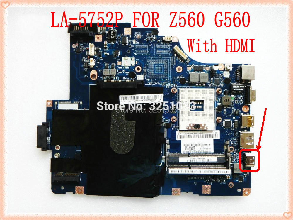 NIWE2 LA-5752P for Lenovo Z560 G560 laptop motherboard for intel HM55 DDR3 Mainboard Chipset HM55 NIWE2 LA-5752P DDR3