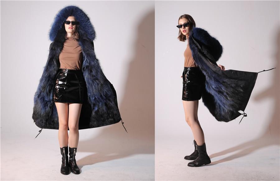 2019 Real Fur Coat Winter Jacket Women Long Parka Waterproof Big Natural Raccoon Fur Collar Hood Thick Warm Real Fox Fur Liner 81
