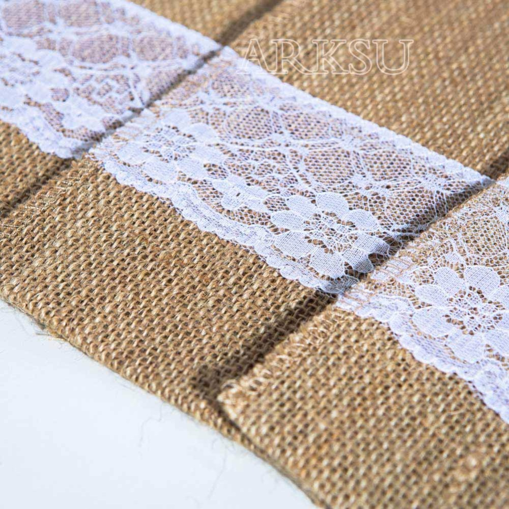 20 шт винтажный шикарный джутовый мешковатый кармашек для столовых приборов с кружевной отделкой сувенир для свадебной вечеринки ремесленные сумки