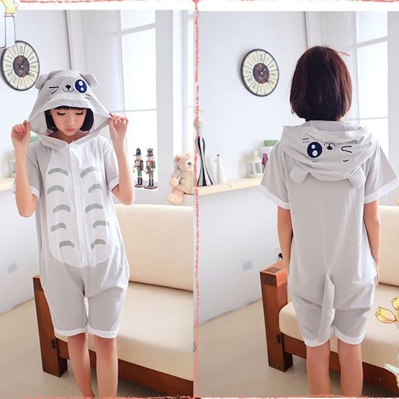 Spring Summer Short Sleeve Animal Pajamas Unisex Cosplay Pijamas Cartoon Adult Cotton Onesies hooded Pajama for men women