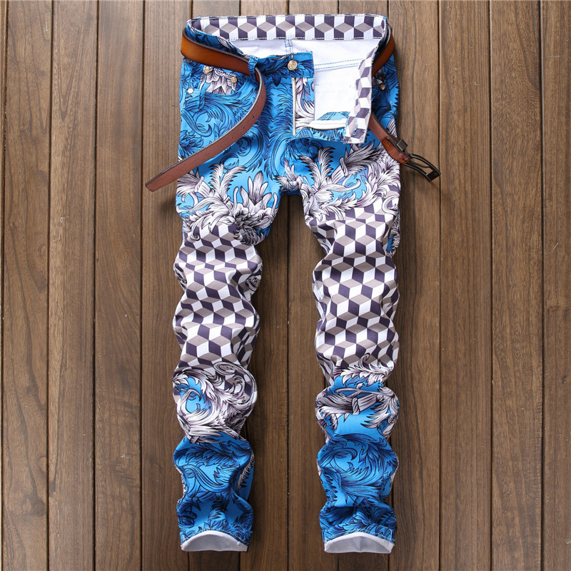 New 2017 Men`s Geometric Printed Jeans Pants Punk Style Gothic Painted DJ club Night Slim Leg Cool blue Jeans For Young Men charter club women s comfort waist slim leg pants 18 warm toffee