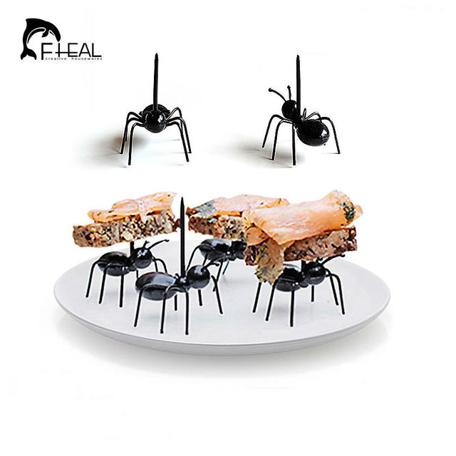 FHEAL 12 pçs/set Bonito Mini Ant Frutas Garfo de Plástico Eco Amigável Fácil Decoração Bar Cozinha Crianças Garfos de Sobremesa Talheres