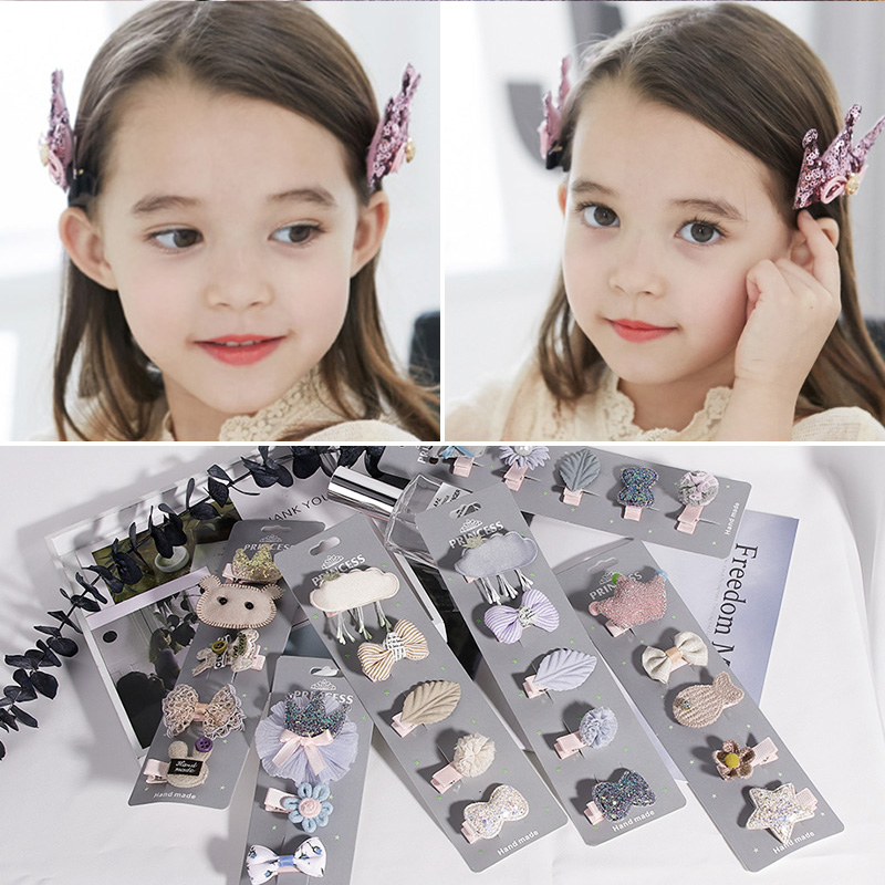 New Boutique 5PCS/Lot Cute Cartoon Girls Hairpin Princess Lovely Hair Ornament Headband Barrettes Kids Hair Accessories   Headwear