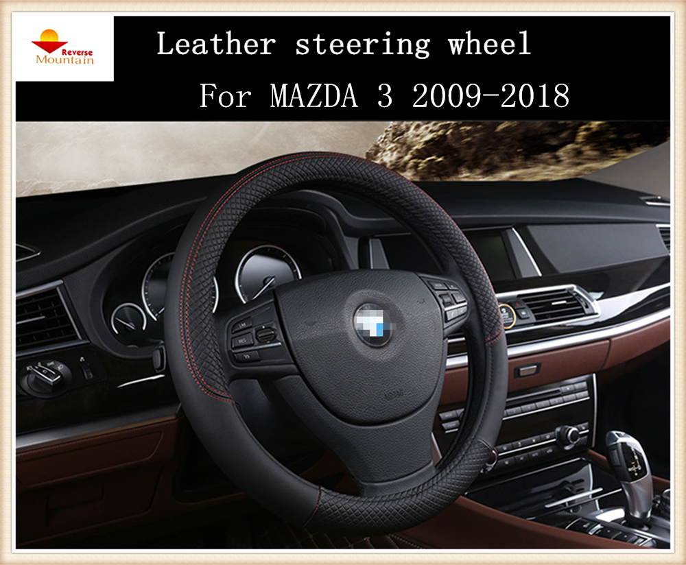 Fashion sport style leather car steering wheel cover for mazda 3 2009 2018 china