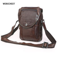 WERICEHST Men Bag Top Genuine Leather Shoulder Bags Vintage men Crossbody Messenger Bags Versatile Casual Mobile Phone M Bag