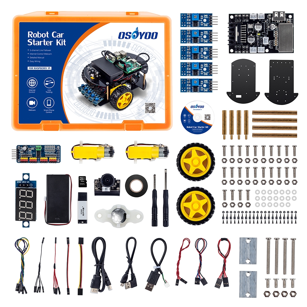 US $84 66 17% OFF|OSOYOO Robot car kit Smart Car Learning Kit for Raspberry  Pi 3,B+Android IOS APP WiFi Wireless (Not include Raspberry P3 board )-in