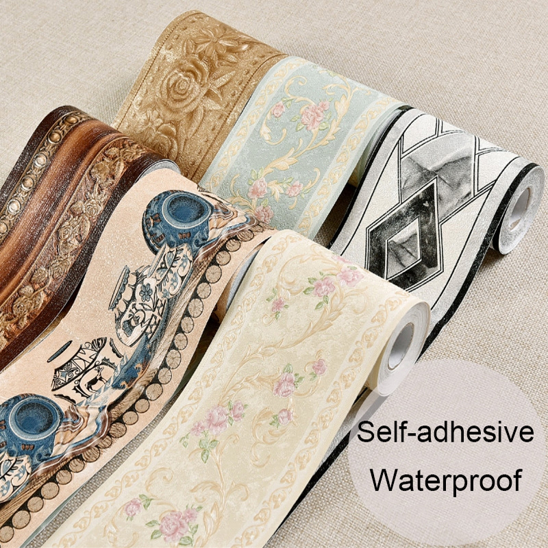 Living Room Bedroom Kitchen Bathroom Tile Baseboard Waistline Stickers PVC Self-adhesive Wallpaper Decor Wall Sticker Waterproof