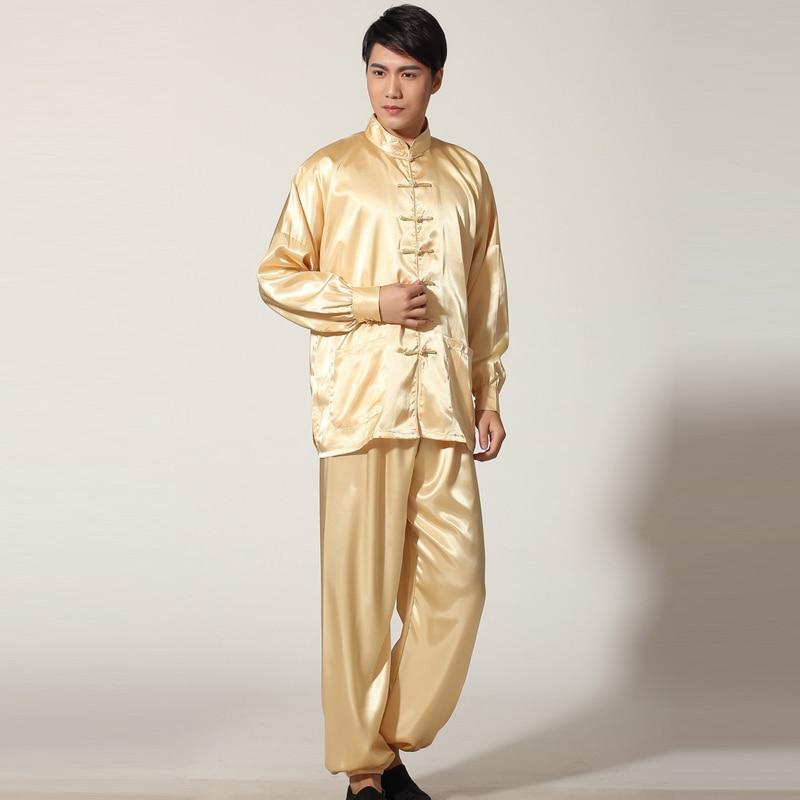 Chinese Homens Terno De Algodão Kung Fu Wu Shu Tai Chi Uniforme Camisa de Manga longa + Calça Curta roupas calças wing chun tai chi uniforme 5