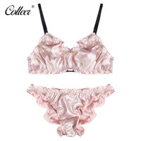 COLLEER Women S Sexy Ruffles Unlined Underwear Solid Wire Free Bra Sets Hin Cup Transparent Lace
