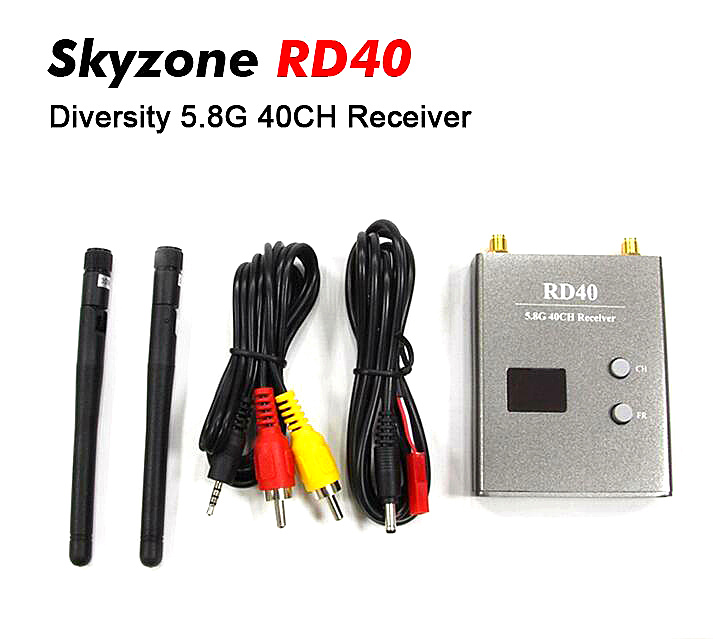 Skyzone RD40 FPV 5.8G 40CH Diversity Receiver pv 5 8 ghz 40ch rd40 diversity receiver with a v and power cables