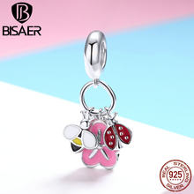 BISAER 925 Sterling Silver Charms Bee Flower Ladybug Pink Enamel Beads fit Child Bracelets DIY Silver 925 Jewelry Making ECC892(China)