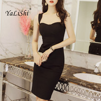 2018 New Summer Dress Women Bodycon Party Sexy Clubwear Dress Vestidos De Festa Sleeveless Black Sexy Bandage Pencil Dresses