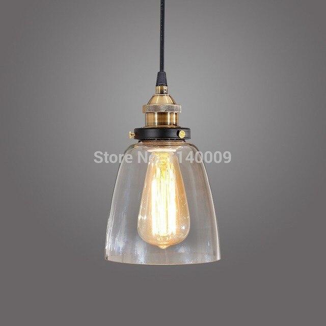 2018 nieuwe glazen hanglamp industrile vintage verlichting metalen lampvoet