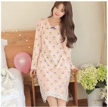 Free Shipping 100% Cotton Long Nightgowns autumn Women Sleepwear Cartoon Sleepwear full Sleeve Sleepshirt SleepdressAA0008