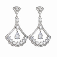 Korean Style Exquisite Fan Shaped Earrings 925 Pure Silver Ear Pin AAA Zircon Inlaid Noble Temperament Dinner Accessories