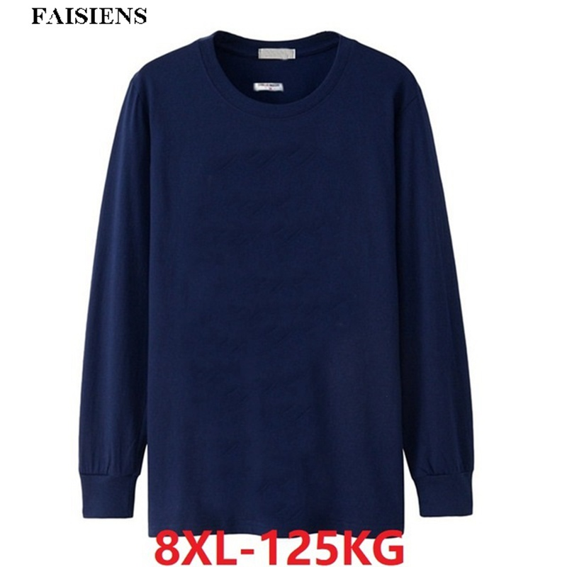FAISIENS Winter <font><b>Big</b></font> Sale Men T-<font><b>Shirt</b></font> 5XL 6XL Long Sleeve Cheap Autumn Plus Large Size <font><b>Big</b></font> 7XL 8XL Tshirts Cotton Home Black Tees image