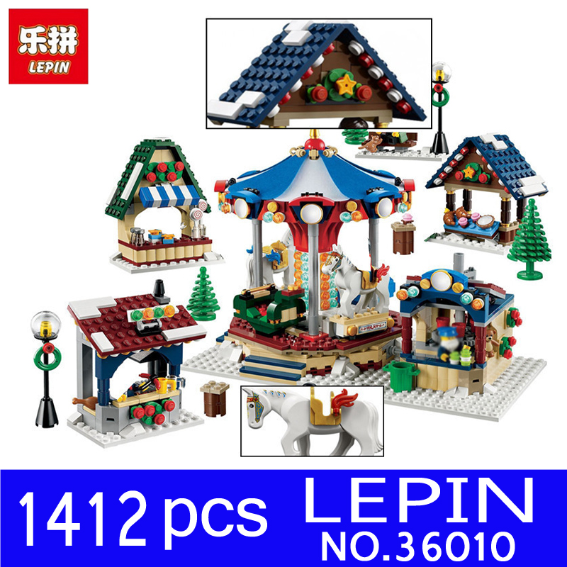 Lepin 36010 1412PCS Creative Series Creator Winter Village Market Building Blocks Bricks Toys for Children Christmas Gift 10235 lepin 36010 in stock 1412pcs winter village market carousel model building blocks bricks christmas toys 10235