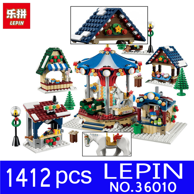 lepin 36010 1412pcs creative series creator winter village market building blocks bricks toys for children christmas