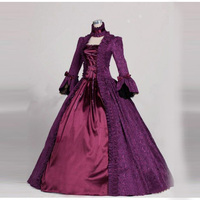 Gothic Victorian Lolita Dress Halloween Classic Purple Square Collar Long Flare Sleeve Cosplay Ball Gowns For Women Customized
