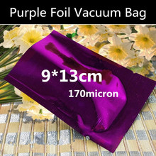 Wholesale 200pcs 9cmx13cm 170micron 3 Sides Purple Heat Sealed Foil Vacuum Bag Vacuum Foil Powder Bag