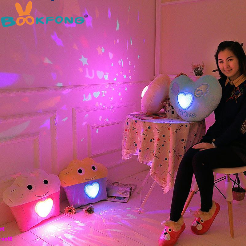 BOOKFONG colorful LED light projection pillow LED lights Pillow Light Projector Plush Toy Night Light Stars Toys Girls gift