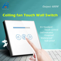 EU Standard Electric Ceiling Fan Switch 600W Fan Speed Regulation Wall Touch Switch Crystal Glass Panel