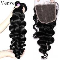 Свободная волна 3 человеческих волос пучки с закрытием 4 шт. бразильский пучки волос Девы с закрытием кружева фронтальной с пучками venvee