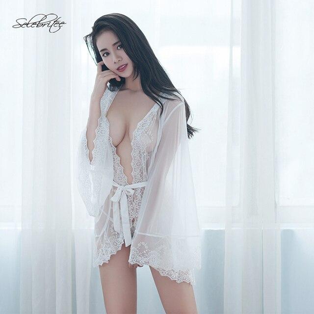 0d77dd276f1357 R$ 188.78 |Selebritee Transparente Lingerie Camisola Robe Feminino das  Mulheres de Manga Comprida Vestido de Renda Traje Erótico Adulto Pijama  Sexy ...