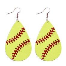hot deal buy 2018 new trendy genuine leather baseball earrings for women fashion leather teardrop earrings sport jewelry softball earrings